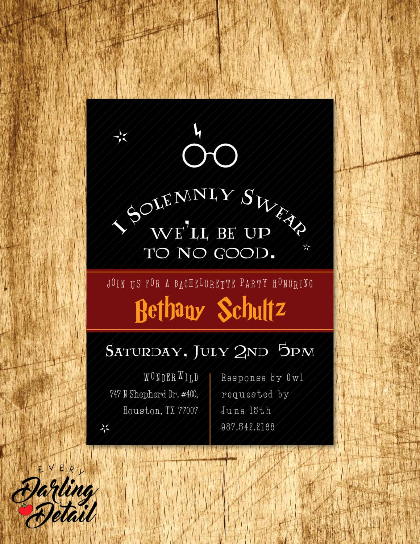 Harry Potter Birthday Party Invitation Lovely Harry Potter Inspired Bachelorette Party Invitation Custom