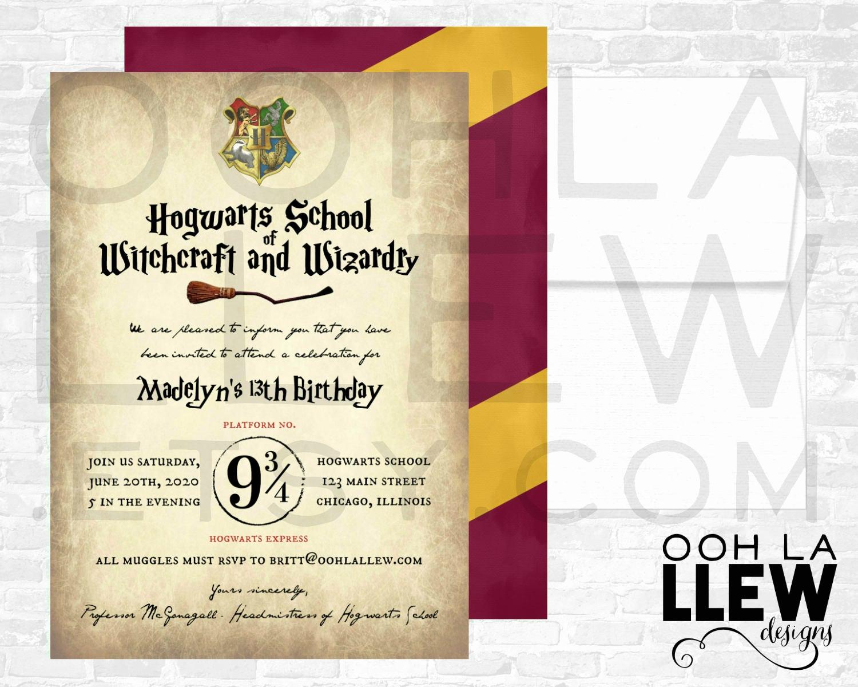 Harry Potter Birthday Party Invitation Lovely Harry Potter Invitation Harry Potter Birthday Harry Potter