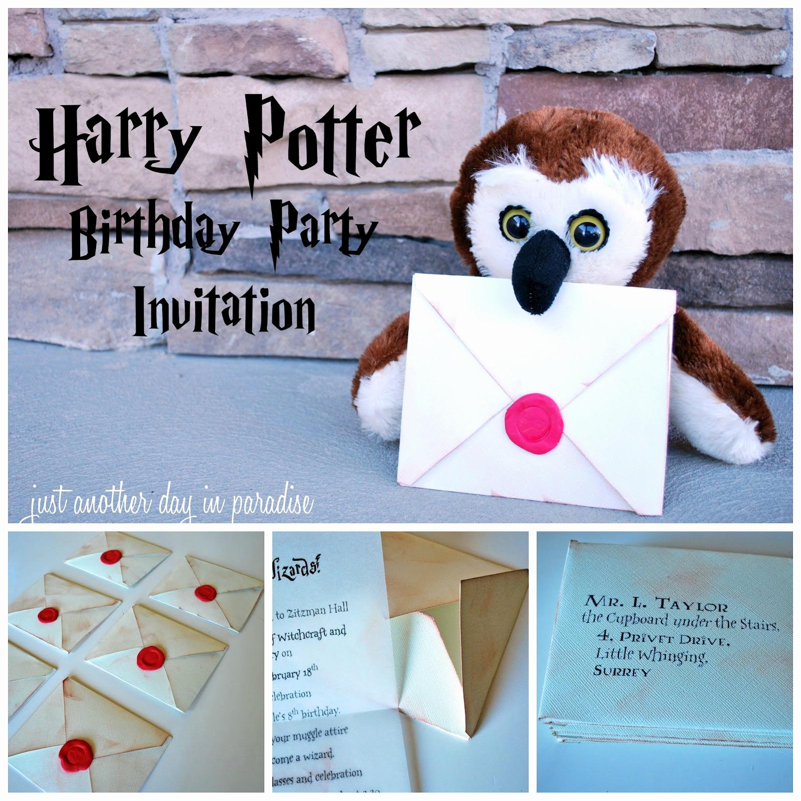 Harry Potter Birthday Party Invitation Lovely Larissa Another Day Harry Potter Party Invites Tutorial