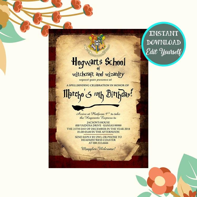 Harry Potter Birthday Party Invitation Unique Harry Potter Birthday Invitation Harry Potter Invitation