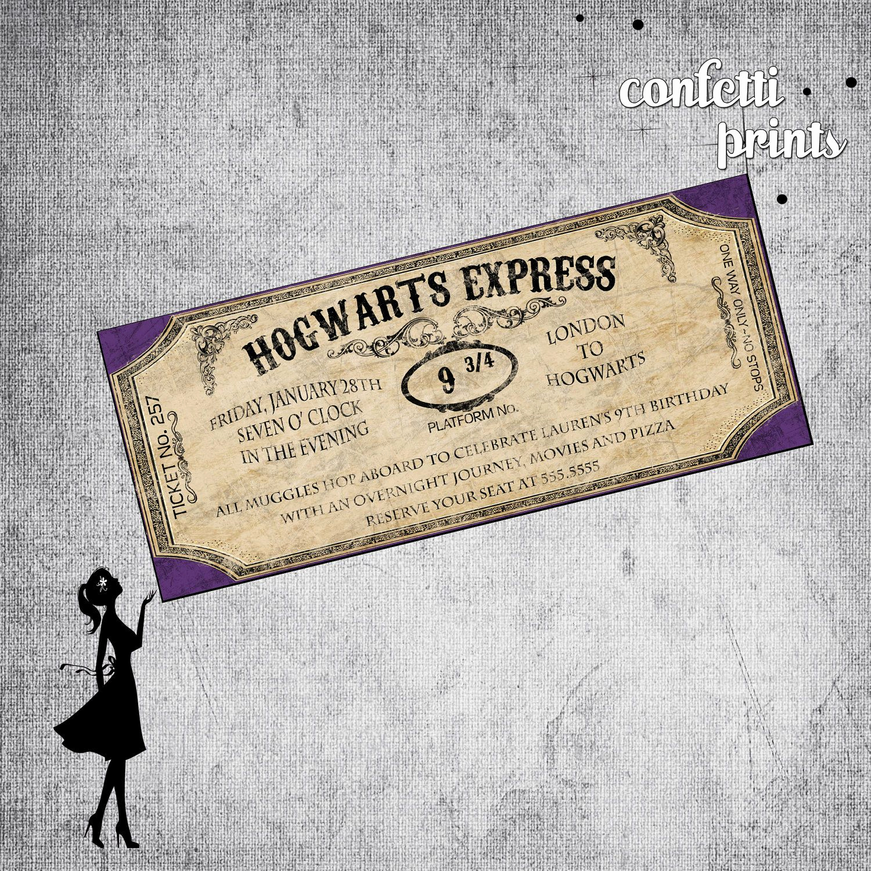 Harry Potter Hogwarts Invitation Beautiful Printable Birthday Invitation Hogwarts Express $12 00