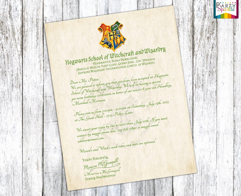 Harry Potter Hogwarts Invitation Elegant Hogwarts Acceptance Letter Invitation Personalized Harry