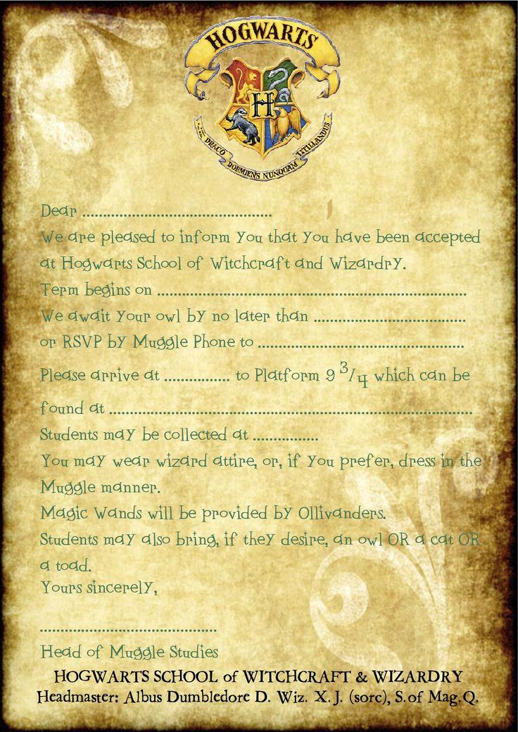 Harry Potter Hogwarts Invitation Fresh 25 Best Ideas About Harry Potter Invitations On Pinterest