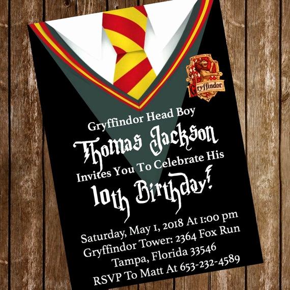 Harry Potter Hogwarts Invitation Fresh Harry Potter Hogwarts Gryffindor Birthday Party Invitation
