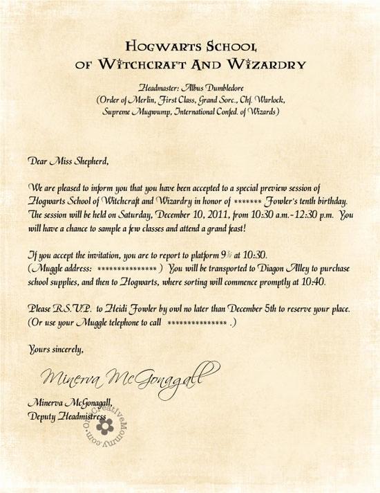 Harry Potter Hogwarts Invitation Inspirational Hogwarts Invitation Letter