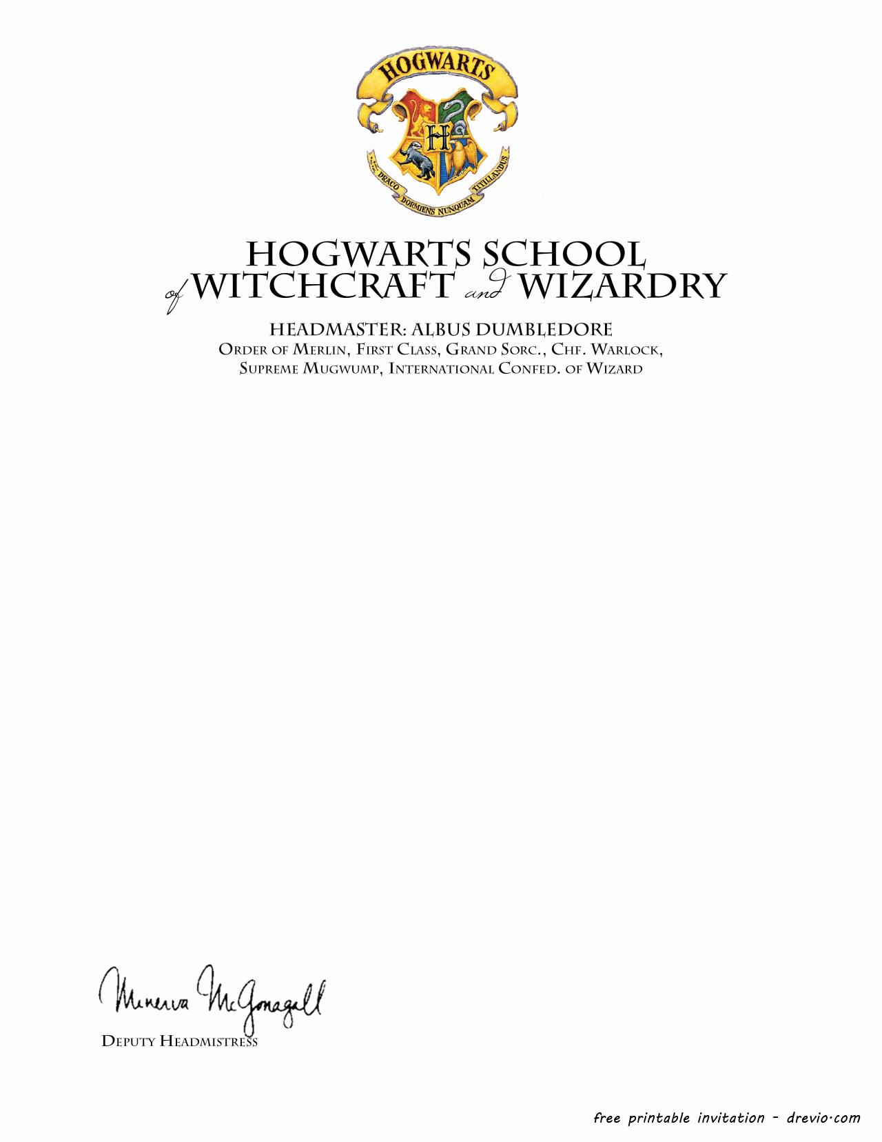 Harry Potter Hogwarts Invitation Luxury Free Printable Harry Potter – Hogwarts Invitation Template