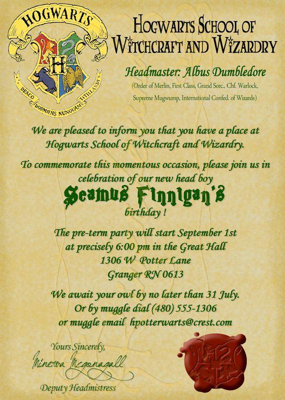 Harry Potter Hogwarts Invitation Unique Hogwarts Letter Birthday Invitation Printable Harry