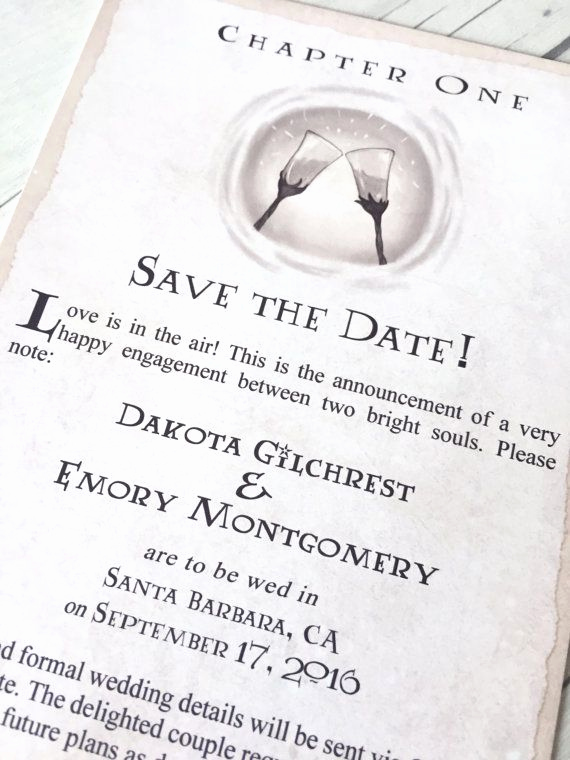 Harry Potter Invitation Ideas Fresh Chapter E Save the Date Fantasy Book theme Wedding