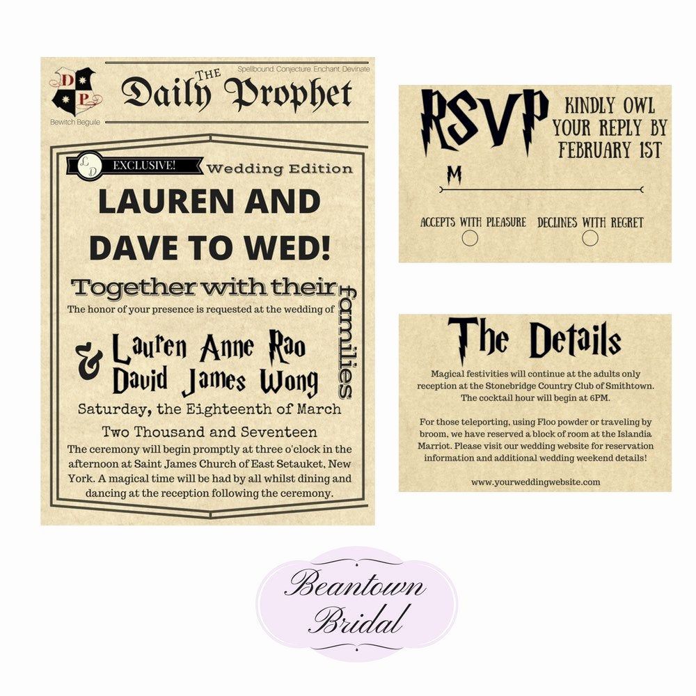 Harry Potter Invitation Ideas Fresh Wedding Invitation Harry Potter Wedding Invitation Wedding