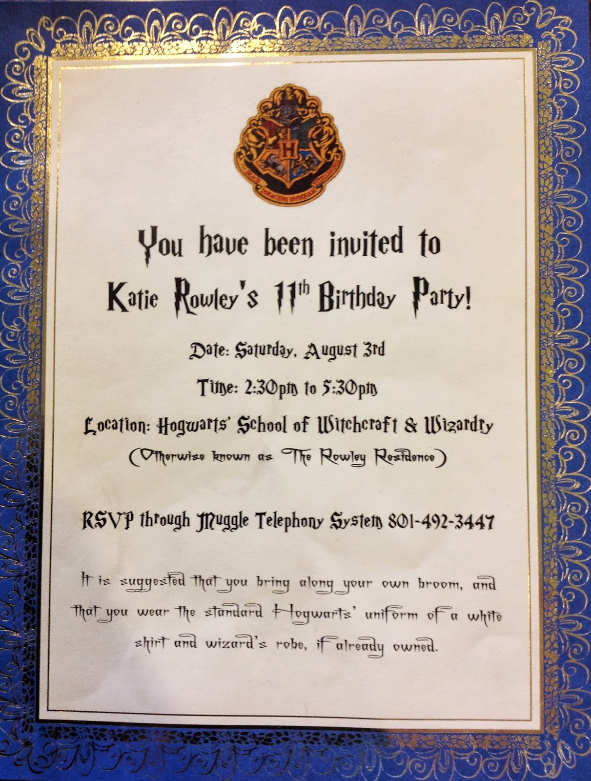 Harry Potter Invitation Ideas New Puddle Wonderful Learning Harry Potter Birthday Party