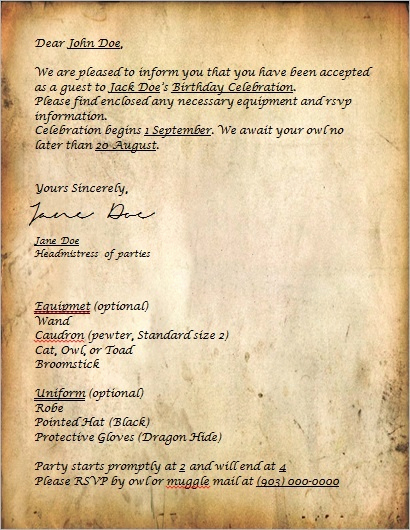 Harry Potter Invitation Letter Best Of Harry Potter Acceptance Letter Style Invitation Can Be