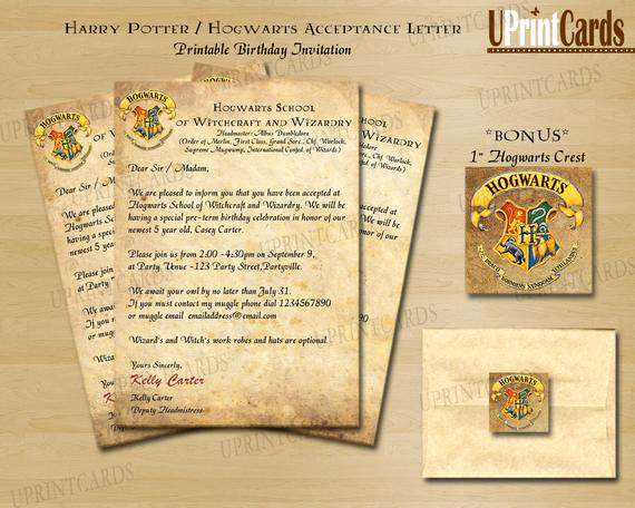 Harry Potter Invitation Letter Elegant Robyn Braik On Etsy