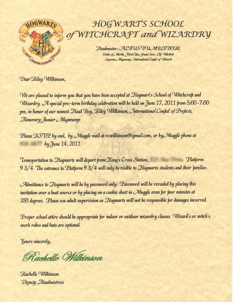 Harry Potter Invitation Letter Elegant Wilkinsonquints Riley S Harry Potter Birthday