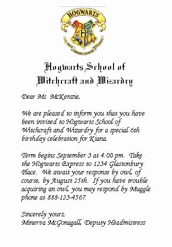 Harry Potter Invitation Letter Fresh Harry Potter Birthday Party Hogwarts Style Party Invitations