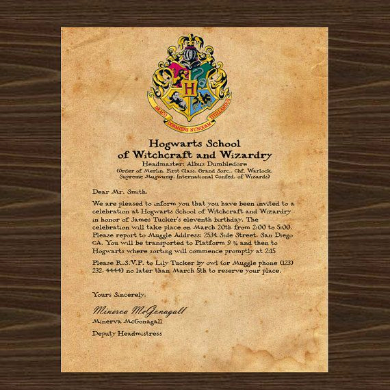 Harry Potter Invitation Letter Inspirational Harry Potter Party Invitation What Better Way to Invite
