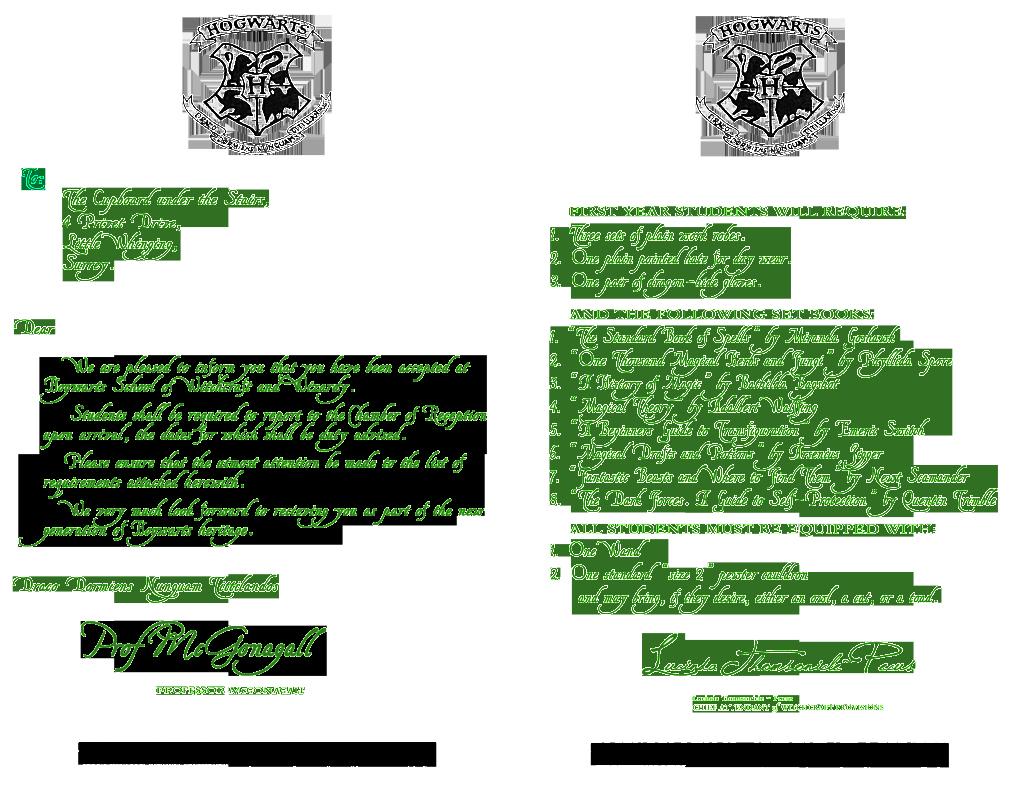 Harry Potter Invitation Letter Inspirational Hogwarts Invitation Customizable