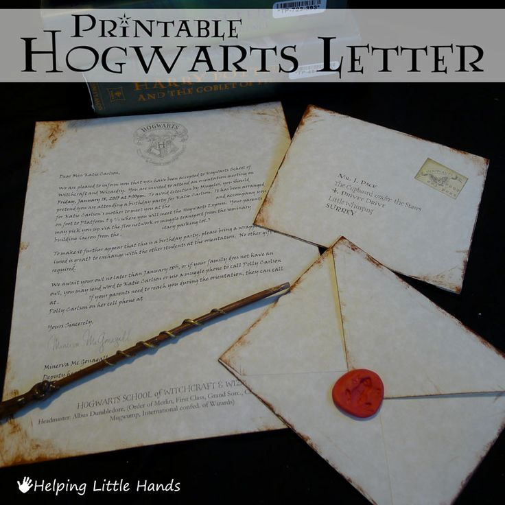 Harry Potter Invitation Letter Lovely Helping Little Hands Printable Hogwarts Acceptance