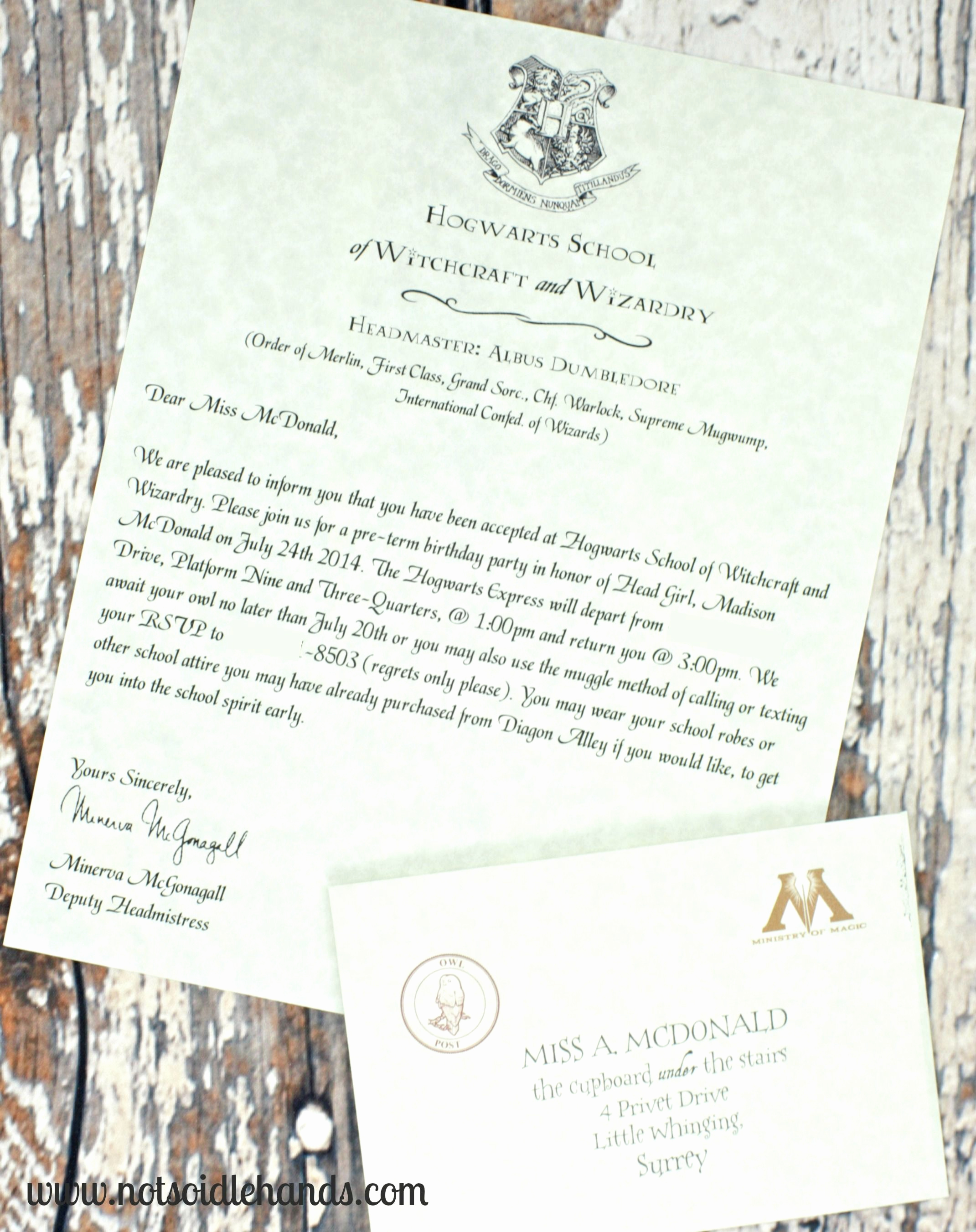 Harry Potter Invitation Letter New Harry Potter Birthday Invitations and Authentic Acceptance