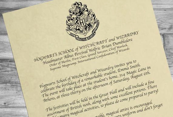 Harry Potter Invitation Letter New Harry Potter Party Invitations Acceptance Letter Template