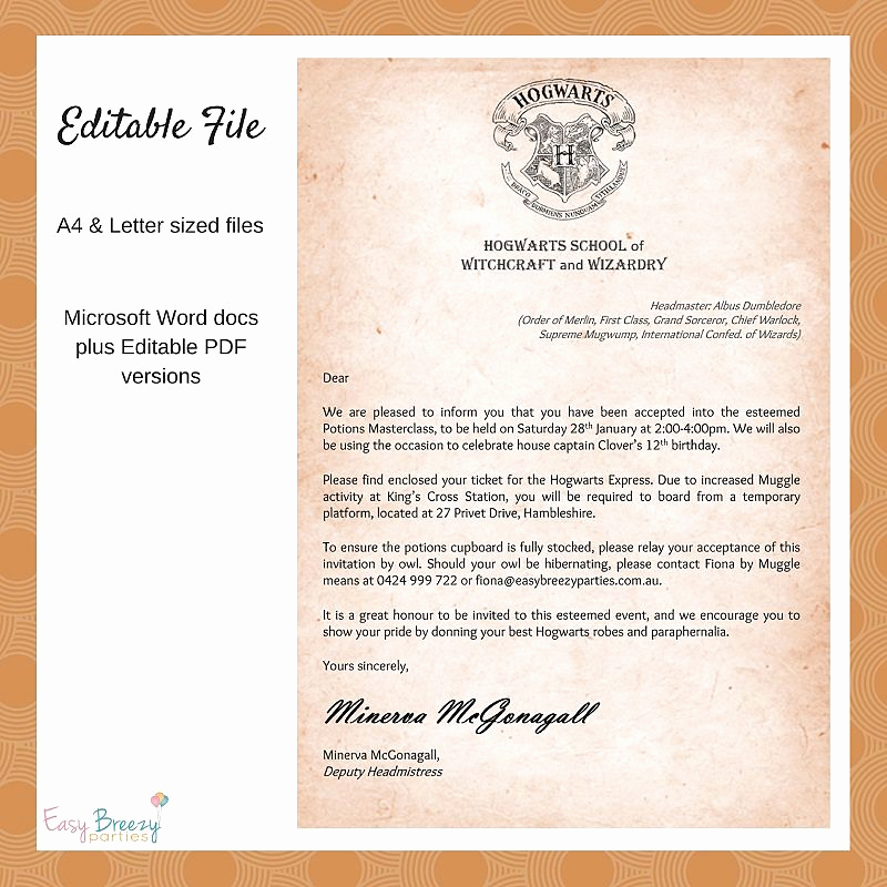 Harry Potter Invitation Letter Unique Harry Potter Invitation Wel E to Hogwarts Printable