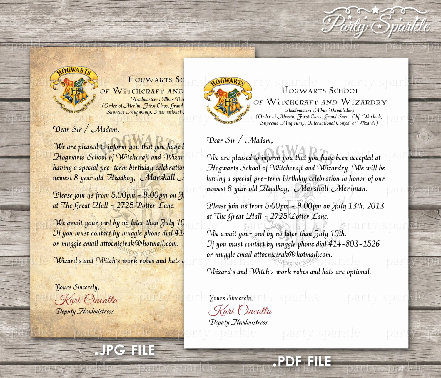 Harry Potter Invitation Letter Unique Printable Hogwarts Acceptance Letter Invitation by