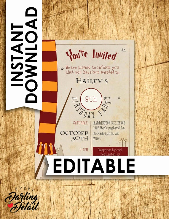 Harry Potter Invitation Template Beautiful Harry Potter Birthday Invitation Instant Download Invite