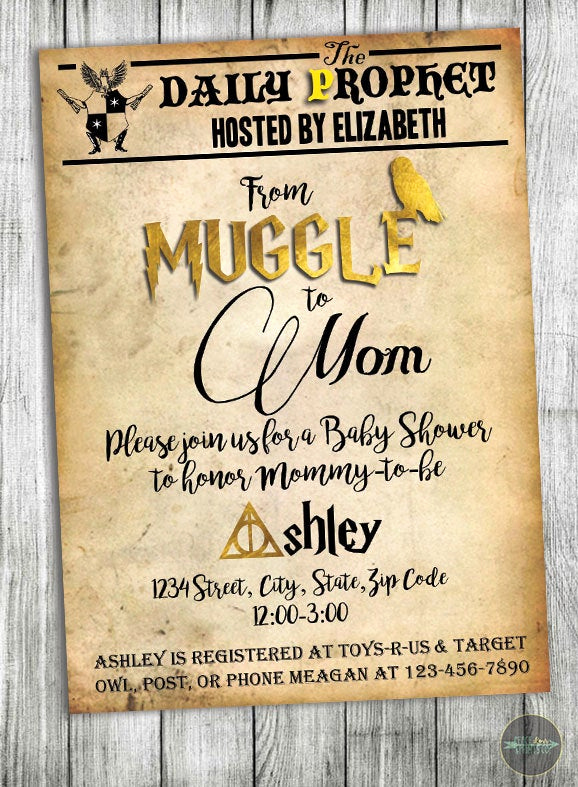 Harry Potter Invitation Template Free Awesome Custom Harry Potter Baby Shower Invitation Muggle to Mom