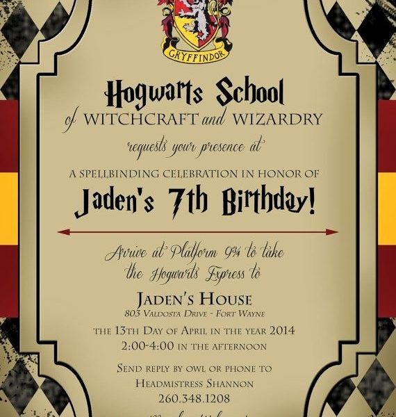 Harry Potter Invitation Template Free Fresh Harry Potter Birthday Invitations Printable Free Cobypic
