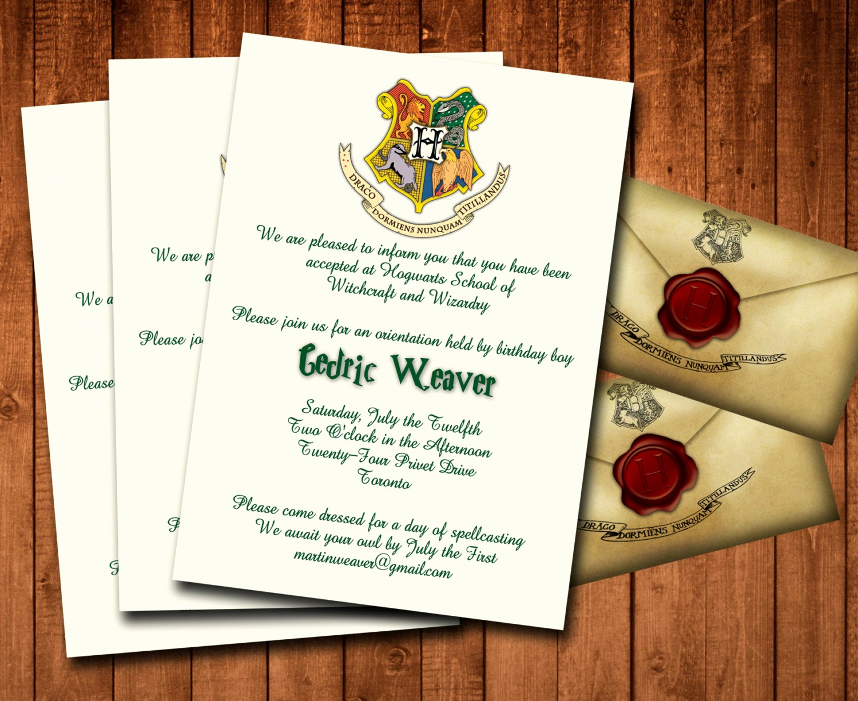 Harry Potter Invitation Template Free Lovely Harry Potter Birthday Party Printable Invitations 5x7 Custom