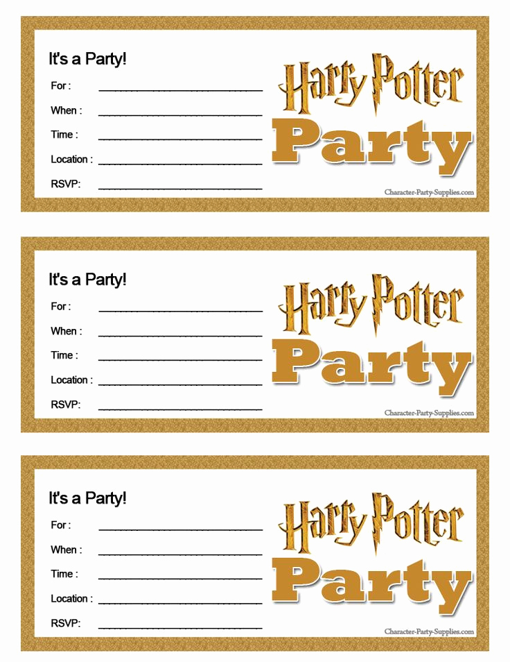 Harry Potter Invitation Template Free New Harry Potter Printable Party Invitations