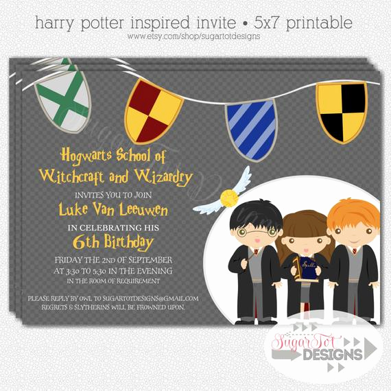Harry Potter Invitation Template Fresh Harry Potter Birthday Party Invitation Wizard by