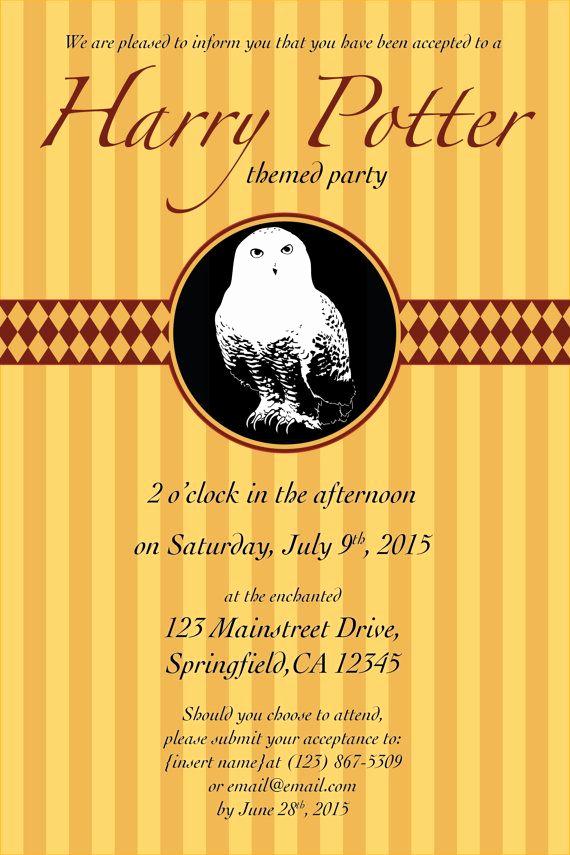 Harry Potter Invitation Template Luxury 4x6 Harry Potter Invitation Template Editable Digital File
