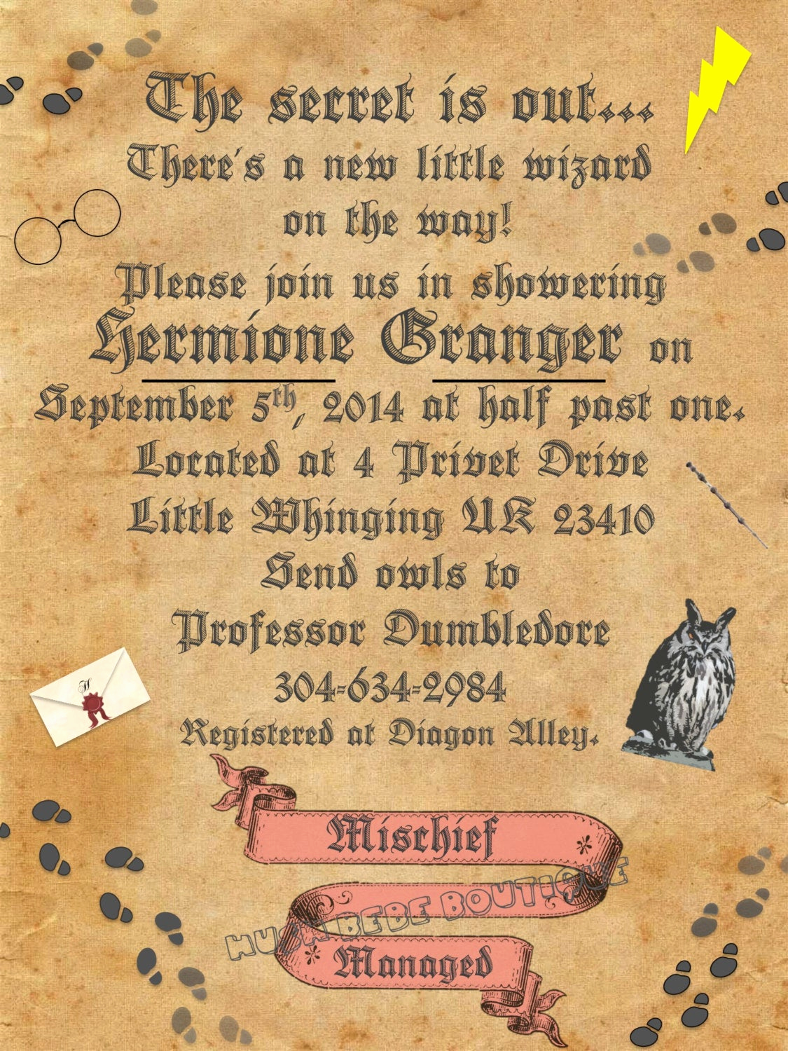 personalized harry potter baby shower