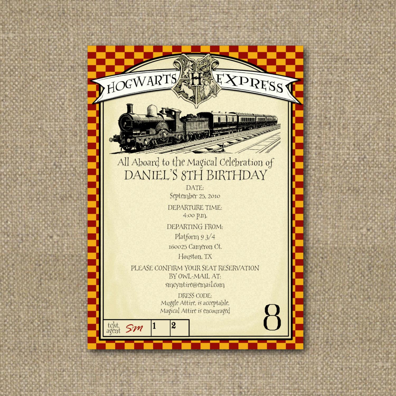 Harry Potter Invitation Template Unique Printable Harry Potter themed Party Invitation