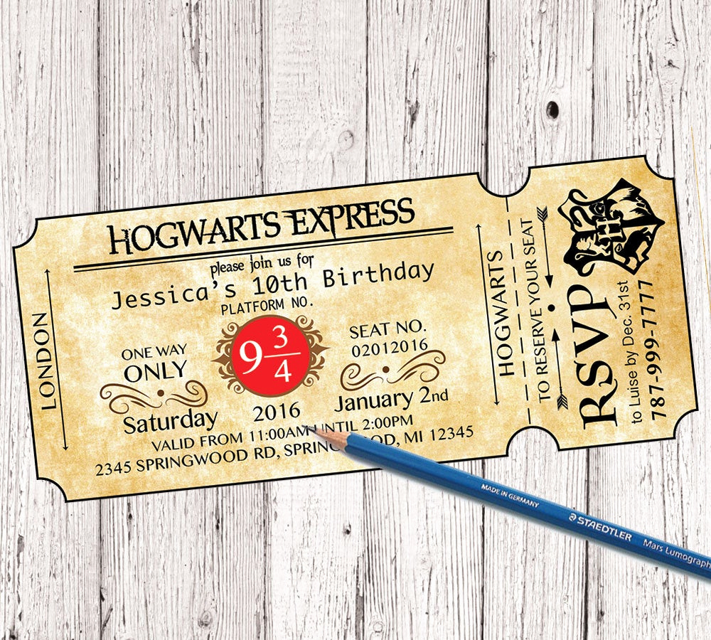 Harry Potter Invitation to Hogwarts Awesome Harry Potter Birthday Invitation Hogwarts Birthday