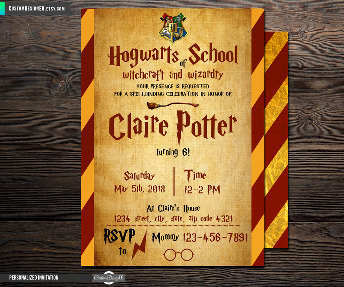 Harry Potter Invitation to Hogwarts Awesome Harry Potter Invitation Harry Potter by Customdesigneg On
