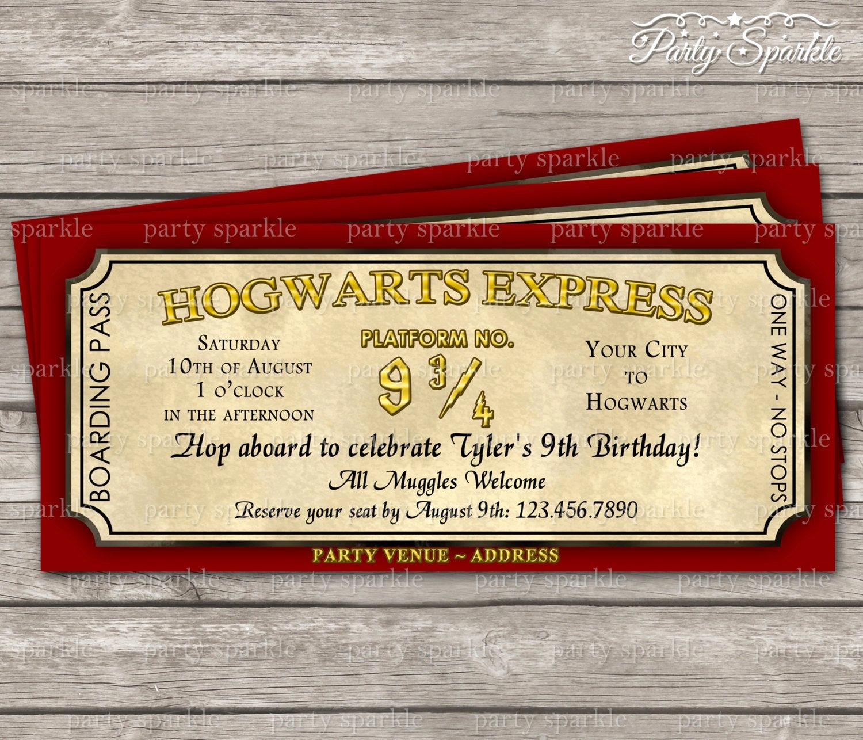 Harry Potter Invitation to Hogwarts Awesome Hogwarts Express Ticket Invitation Harry Potter by