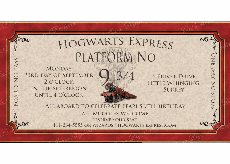 Harry Potter Invitation to Hogwarts Elegant Hogwarts Harry Potter Birthday Invitation Printable