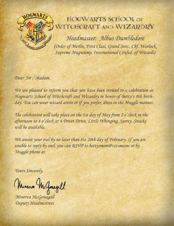 Harry Potter Invitation to Hogwarts Fresh Harry Potter Hogwarts Printable Birthday Invitation