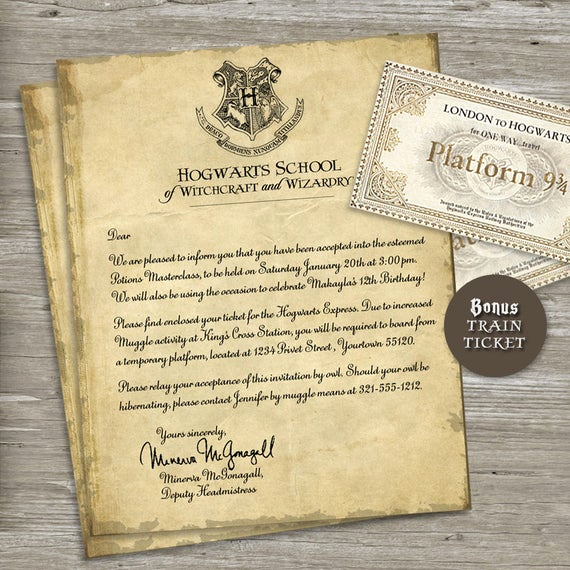 Harry Potter Invitation to Hogwarts Luxury Harry Potter Birthday Party Invitation Acceptance Letter