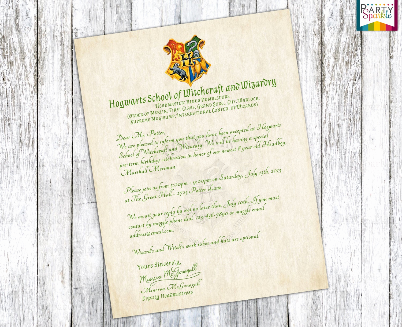 Harry Potter Invitation to Hogwarts Luxury Hogwarts Acceptance Letter Invitation Personalized Harry