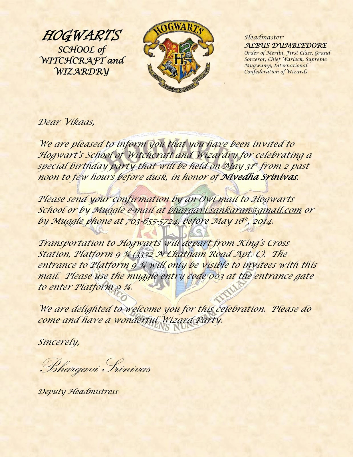 Harry Potter Invitation to Hogwarts Luxury Sbnv Our World Harry Potter Birthday Party
