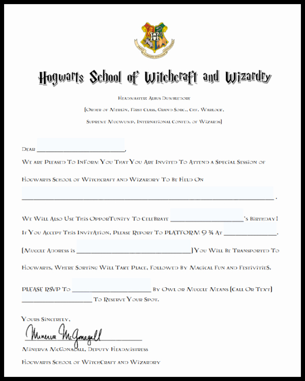 Harry Potter Invitation to Hogwarts New Harry Potter Birthday Party Invitations and Hedwig Owl