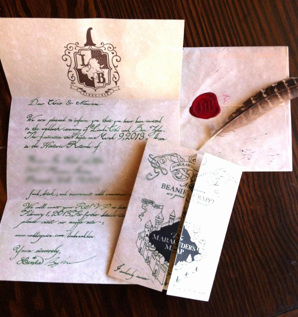 Harry Potter Invitation to Hogwarts Unique Harry Potter Letter to Hogwarts Wedding Invitation