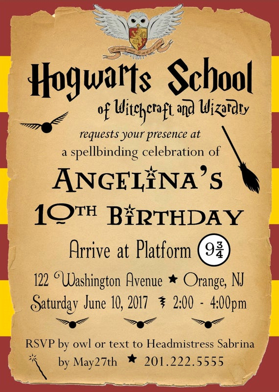 Harry Potter Party Invitation Awesome Harry Potter Birthday Party Invitation Customized