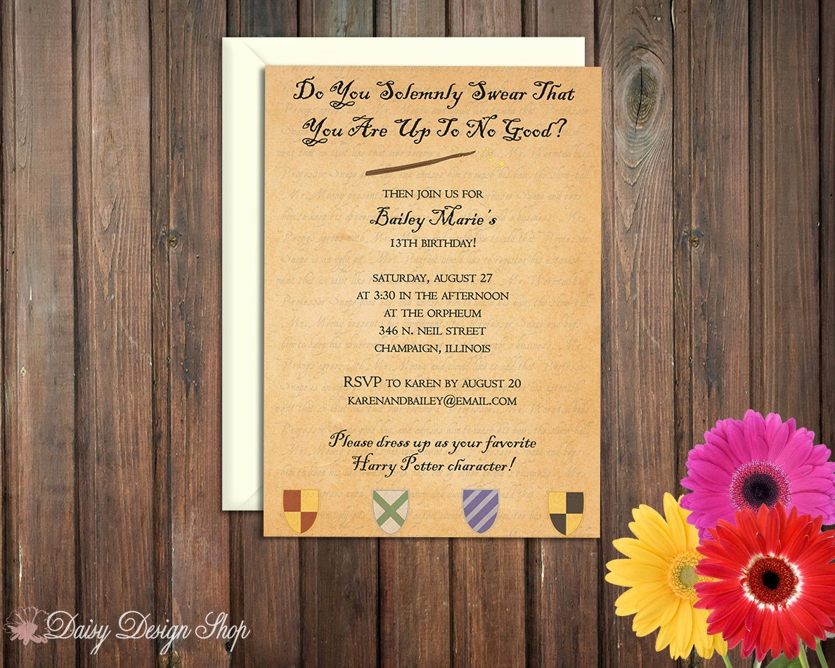 Harry Potter Party Invitation Beautiful Birthday Party Invitations Harry Potter Inspired