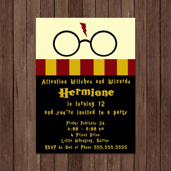 Harry Potter Party Invitation Inspirational Harry Potter Birthday Invitation Gryffindor Digital File