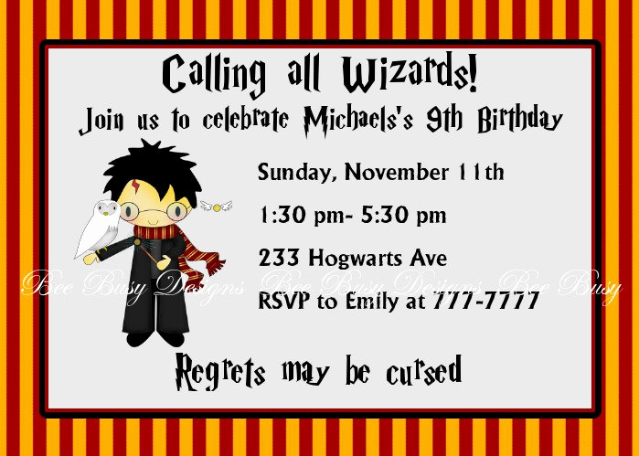 Harry Potter Party Invitation Template Best Of Free Printable Harry Potter Birthday Invitations Printable