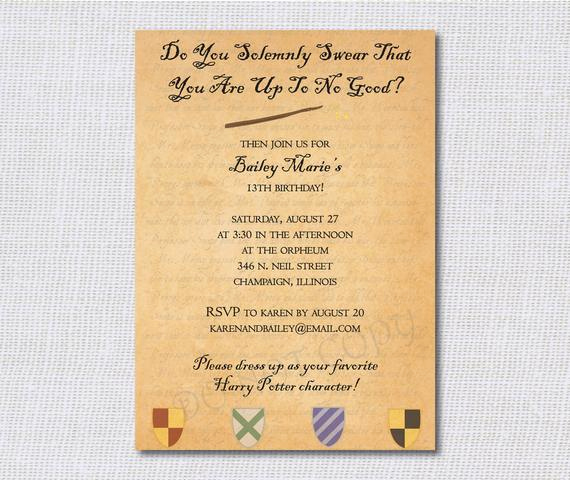 Harry Potter Party Invitation Template Fresh Birthday Party Invitations Harry Potter by Daisydesignshop