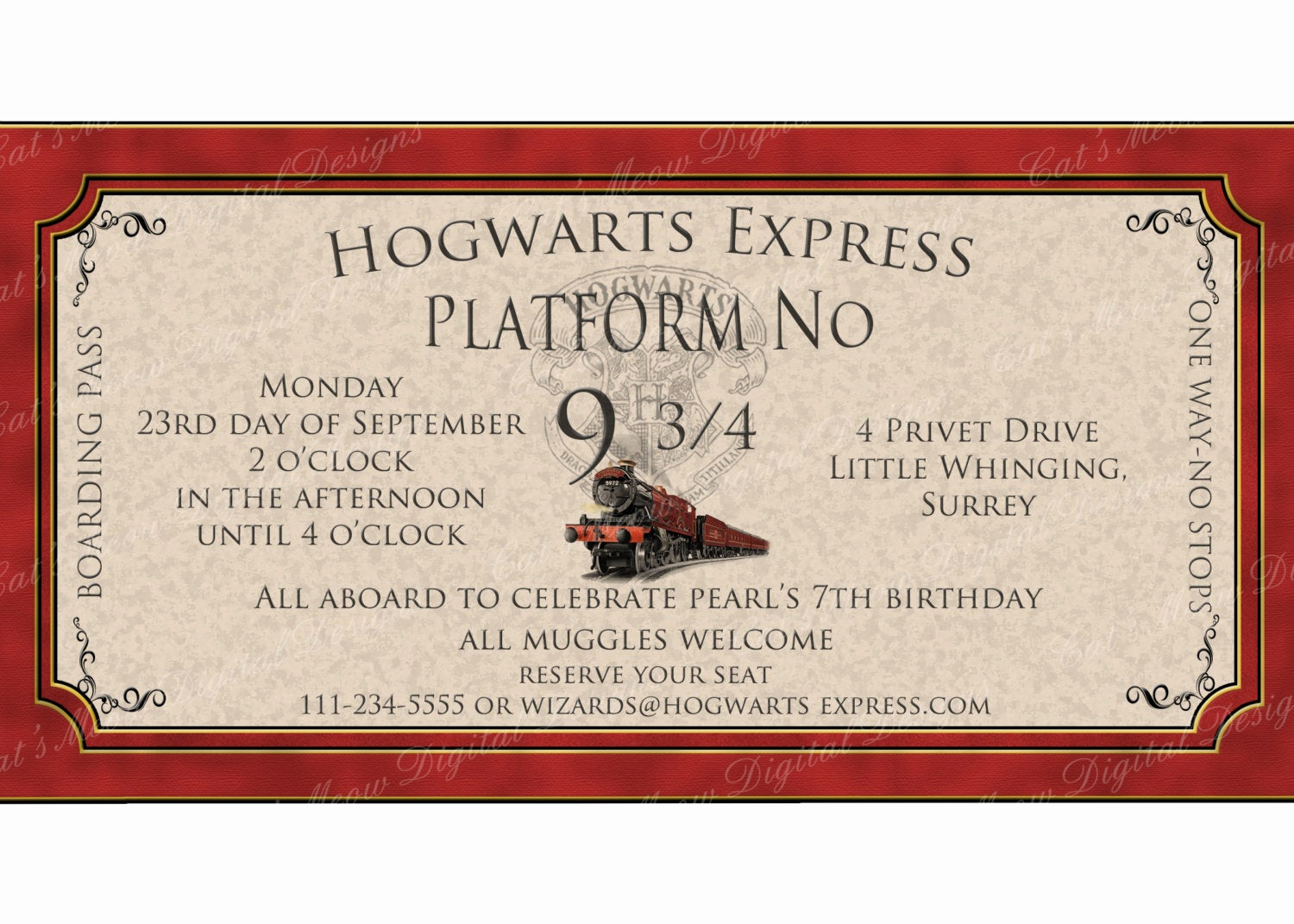 Harry Potter Party Invitation Template Fresh Hogwarts Harry Potter Printable Invitation by Catsmeowddesigns